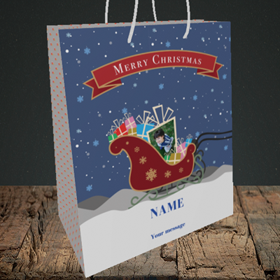 Picture of Sleigh Of Presents, Christmas Design, Medium Portrait Gift Bag