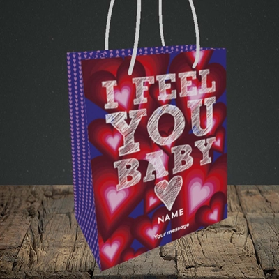 Picture of I Feel You Baby(Without Photo), Valentine's Design, Small Portrait Gift Bag