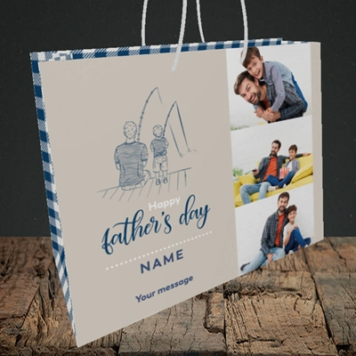 Picture of Father & Son, Father's Day Design, Medium Landscape Gift Bag