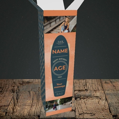 Picture of Skateboard, Birthday Design, Upright Bottle Box