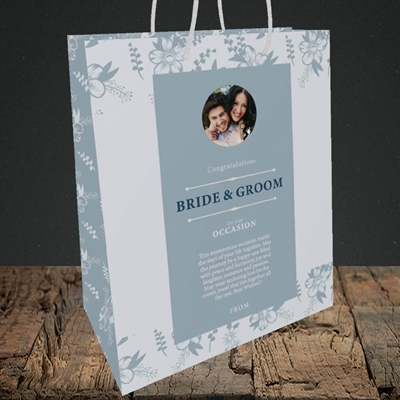 Picture of Floral Strip Edges - Pale Blue  B&G, Wedding Design, Medium Portrait Gift Bag