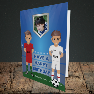 Picture of Football, Birthday Design, Portrait Greetings Card