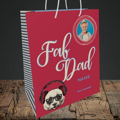 Picture of Fab Dad, Birthday Design, Medium Portrait Gift Bag