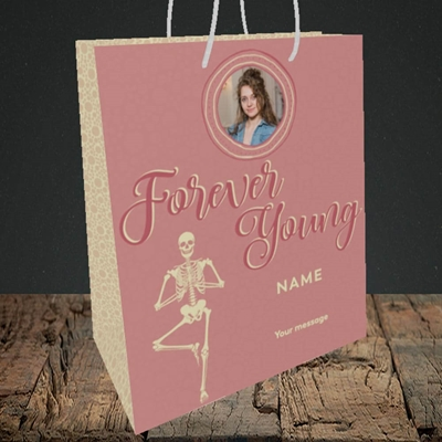 Picture of Forever Young(Skeleton), Birthday Design, Medium Portrait Gift Bag
