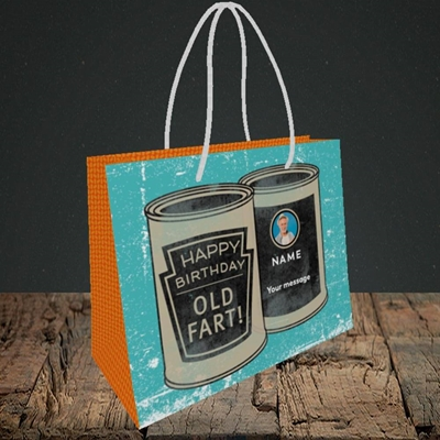 Picture of Tin Of Old Fart, Birthday Design, Small Landscape Gift Bag