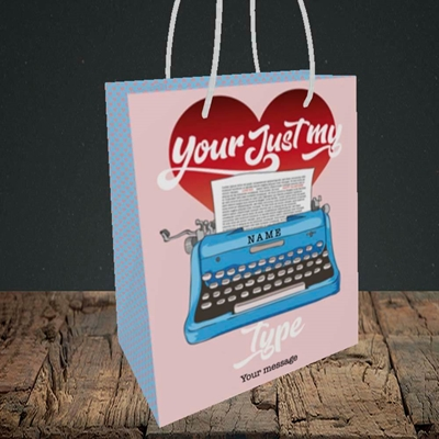 Picture of Just My Type(Without Photo), Valentine's Design, Small Portrait Gift Bag