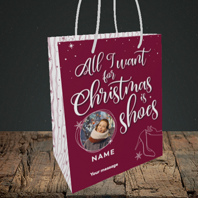 Picture of Christmas Shoes, Christmas Design, Small Portrait Gift Bag