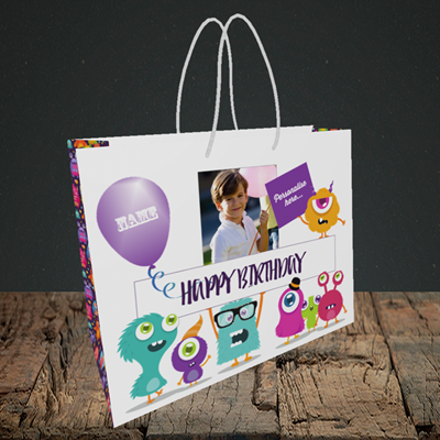 Picture of Monster, Birthday Design, Small Landscape Gift Bag