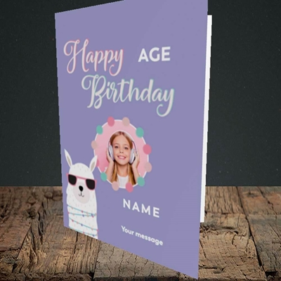 Picture of Cool Lama, Birthday Design, Portrait Greetings Card