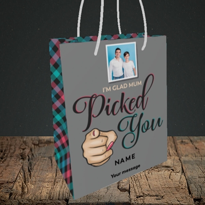 Picture of Mum Picked You, Father's Day Design, Small Portrait Gift Bag