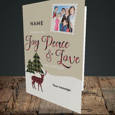 Picture of Joy Peace & Love, Christmas Design, Portrait Greetings Card