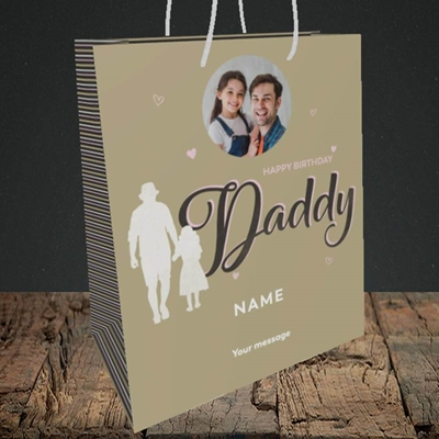 Picture of Daddy & Daughter, Birthday Design, Medium Portrait Gift Bag