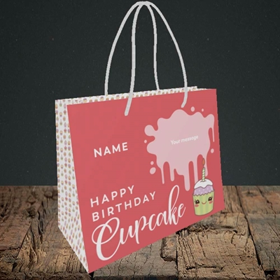 Picture of Cupcake(Without Photo), Birthday Design, Small Landscape Gift Bag