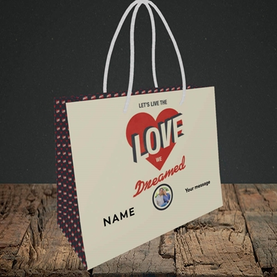 Picture of Let's Live The Love, Valentine's Design, Small Landscape Gift Bag