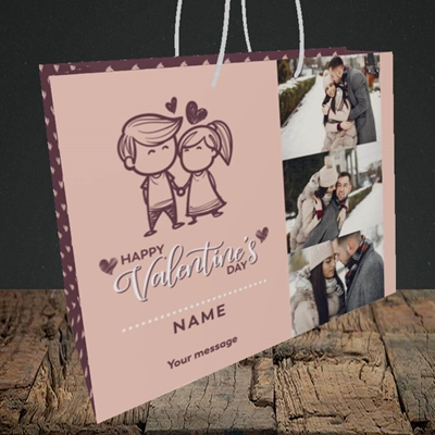 Picture of Holding Hands, Valentine's Design, Medium Landscape Gift Bag
