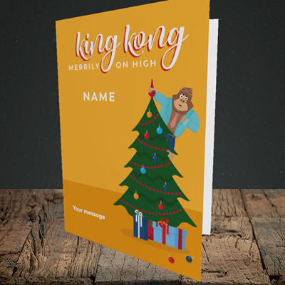 Picture of King Kong, (Without Photo) Christmas Design, Portrait Greetings Card