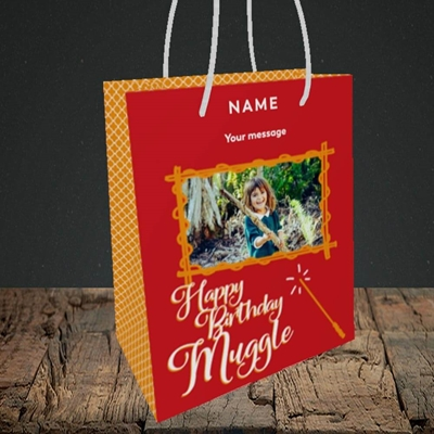 Picture of Muggle, Birthday Design, Small portrait Gift Bag