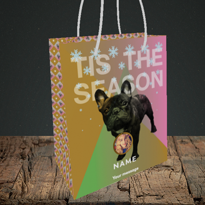 Picture of Tis The Frenchie, Christmas Design, Small Portrait Gift Bag
