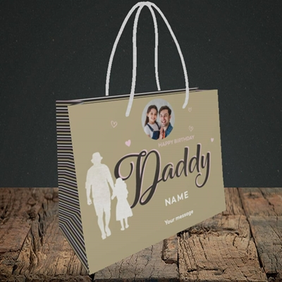 Picture of Daddy & Daughter, Birthday Design, Small Landscape Gift Bag