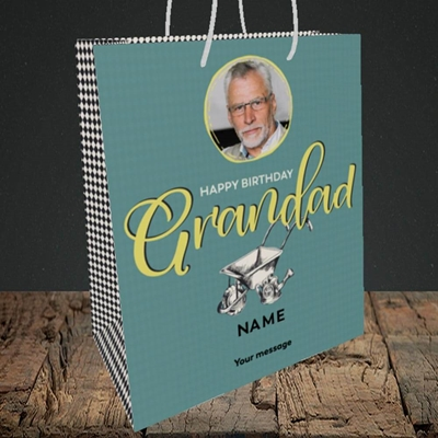 Picture of Grandad Gardening, Birthday Design, Medium Portrait Gift Bag