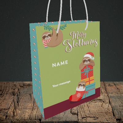 Picture of Slothmas, (Without Photo) Christmas Design, Small Portrait Gift Bag