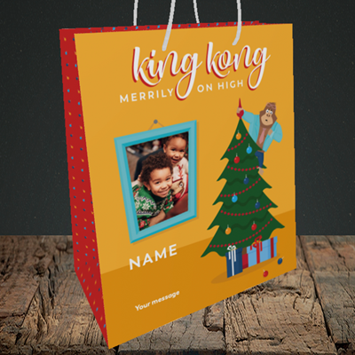 Picture of King Kong, Christmas Design, Medium Portrait Gift Bag