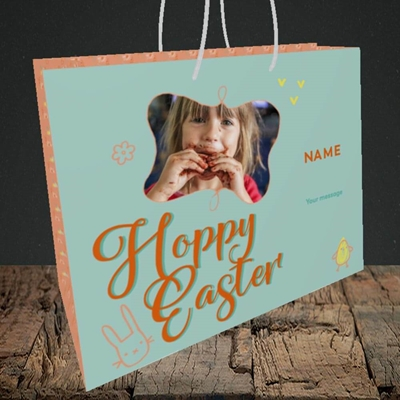 Picture of Hoppy Easter, Easter Design, Medium Landscape Gift Bag