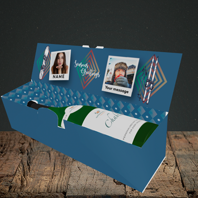 Picture of Ski Polaroid, Christmas Design, Lay-down Bottle Box