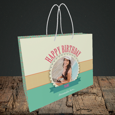 Picture of Roses, Birthday Design, Small Landscape Gift Bag