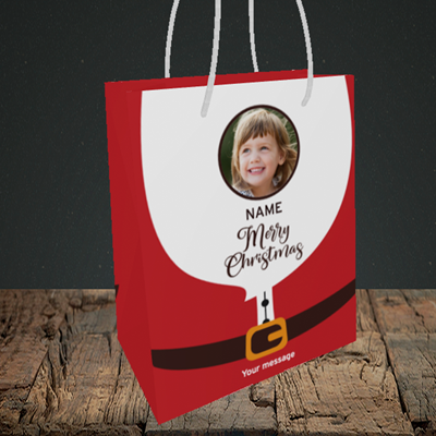 Picture of Santa, Christmas Design, Small Portrait Gift Bag