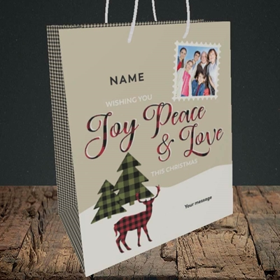 Picture of Joy Peace & Love, Christmas Design, Medium Portrait Gift Bag