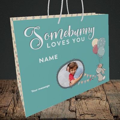 Picture of Somebunny Loves You, Easter Design, Medium Landscape Gift Bag