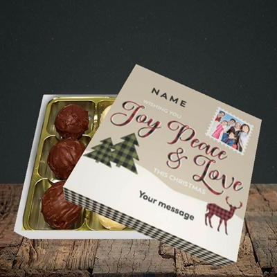 Picture of Joy Peace & Love, Christmas Design, Choc 9