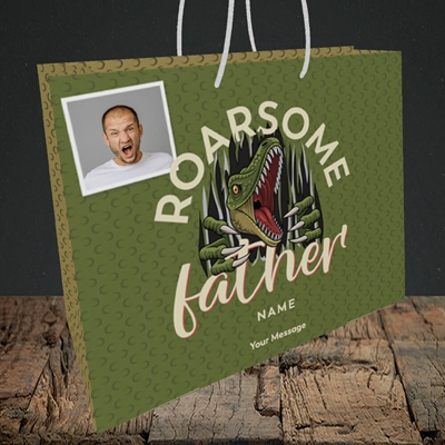 Picture of Roarsome Father, Father's Day Design, Medium Landscape Gift Bag