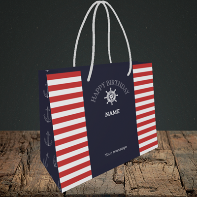 Picture of Nautical, (Without Photo) Birthday Design, Small Landscape Gift Bag