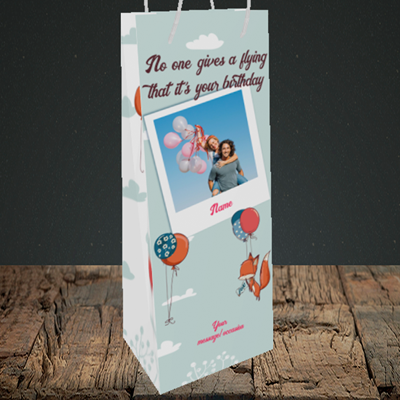 Picture of Fox, Birthday Design, Bottle Bag
