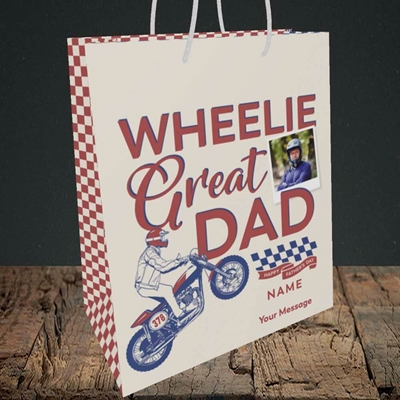 Picture of Wheelie Great Dad, Father's Day Design, Medium Portrait Gift Bag