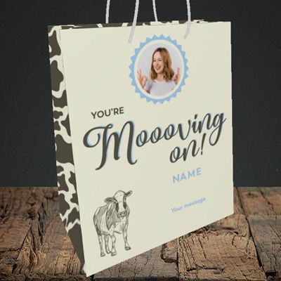 Picture of Moooving On, Leaving Design, Medium Portrait Gift Bag