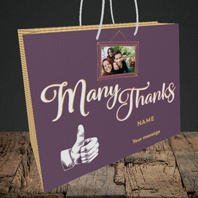 Picture of Many Thanks, Thank You Design, Medium Landscape Gift Bag