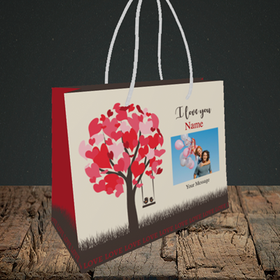 Picture of Lovebirds, Valentine's Design, Small Landscape Gift Bag