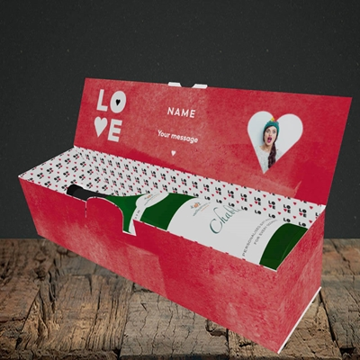 Picture of Love Type (stacked), Valentine's Design, Lay-down Bottle Box