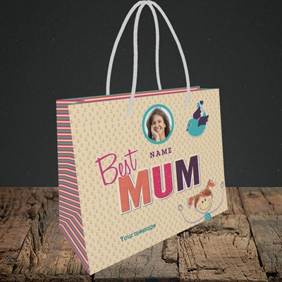 Picture of Best Mum, Small Landscape Gift Bag