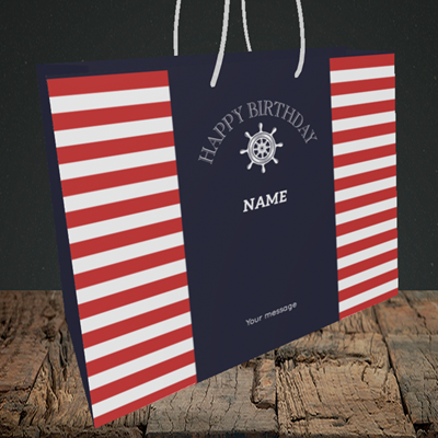 Picture of Nautical, (Without Photo) Birthday Design, Medium Landscape Gift Bag