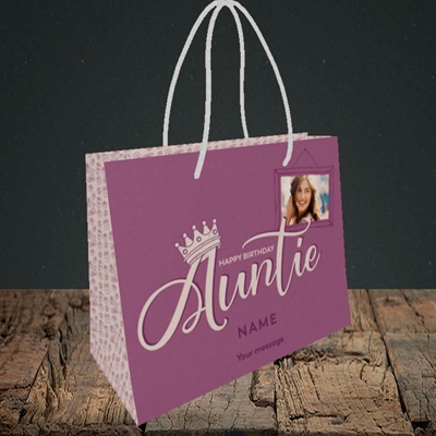 Picture of Auntie (Crown), Birthday Design, Small Landscape Gift Bag
