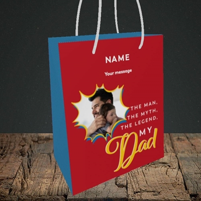 Picture of Man, Myth, Legend, Father's Day Design, Small Portrait Gift Bag