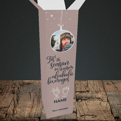 Picture of Tis The Season, Christmas Design, Upright Bottle Box