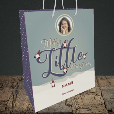Picture of Merry Little Christmas, Christmas Design, Medium Portrait Gift Bag