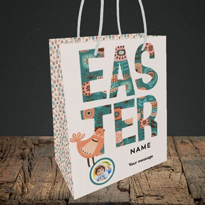Picture of Floral Hen, Easter Design, Small Portrait Gift Bag