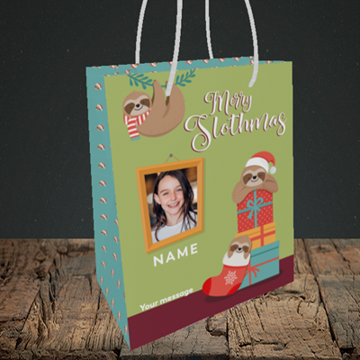 Picture of Slothmas, Christmas Design, Small Portrait Gift Bag