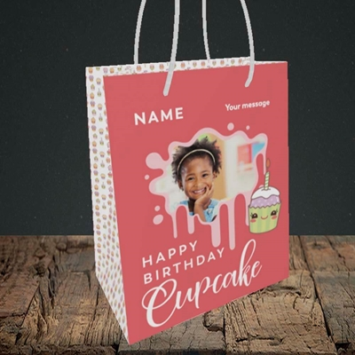 Picture of Cupcake, Birthday Design, Small Portrait Gift Bag
